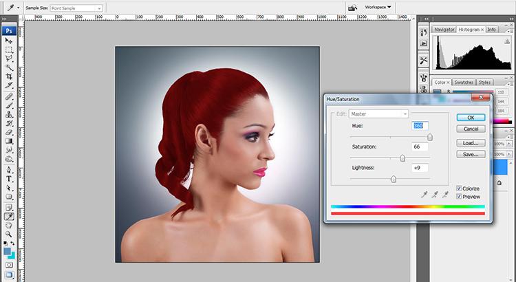 Extract Hair Photoshop CS4 Tutorial - Change hair color