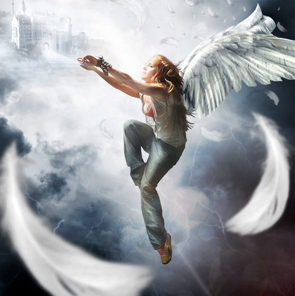 Photo Manipulate a Complex Falling Angel Scene