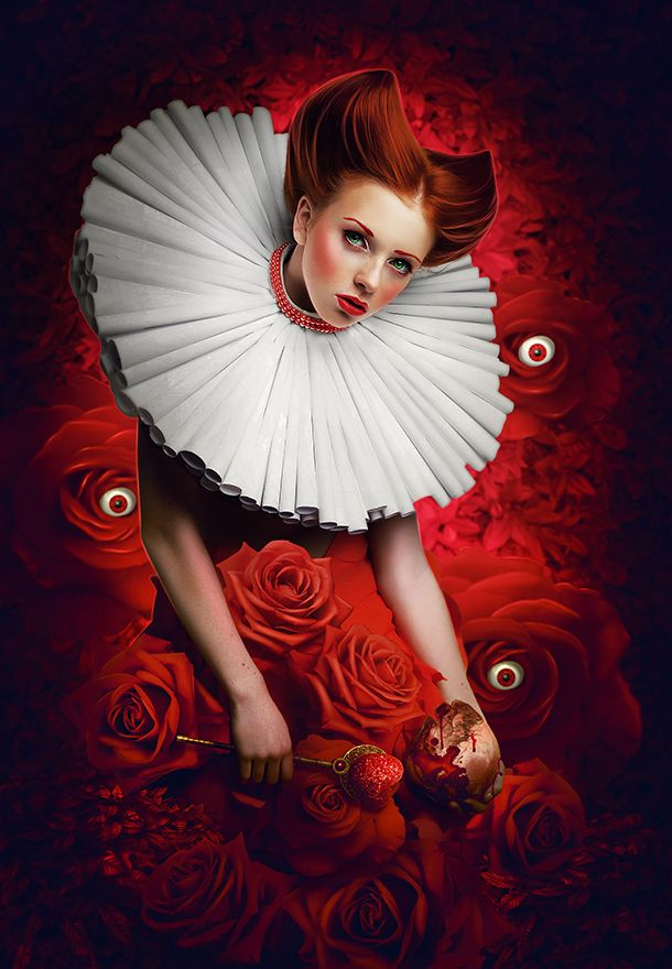 Romantic portrait of redhair woman with white jabot and red bright dress