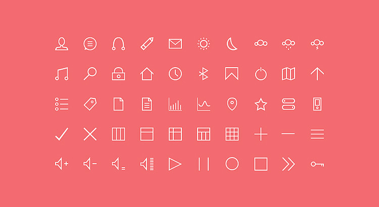 50 Free Thin Custom Icons - preview