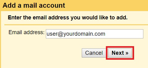 Add a mail account - step 1