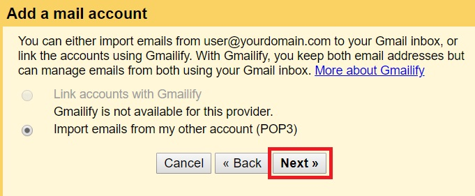 Add a mail account - step 2