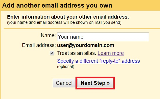 Add a mail account - step 5